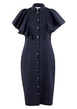 Closet London - Navy Frilled Sleveless Pencil Dress