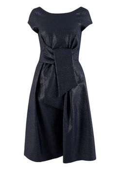 Closet London - Navy Glitter Tie Front Short Sleeve Dress