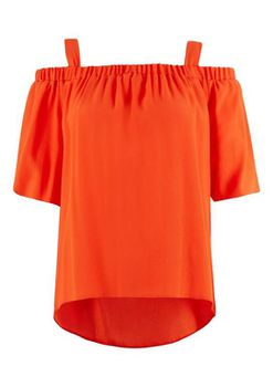 Closet London - Orange Strap Off the shoulder Sleeve Blouse