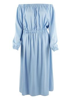 Closet London - Pale Blue Off the Shoulder Midi Dress