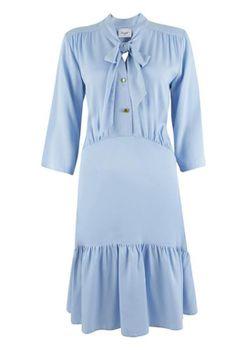 Closet London - Pale Blue Pep Hem Tie Neck Dress