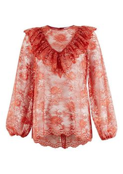 Closet London - Orange Lace Long Sleeve High Collar Blouse