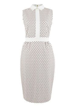 Closet London - Multi Polka Dot Contrast Band Pencil Dress
