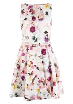 Closet London - Multi Floral Skater Dress with Pink Belt