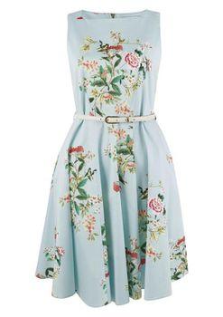 Closet London - Multi Floral Skater Belted Dress