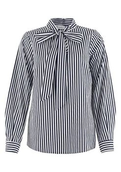 Closet London - Navy and White Stripe Tie Neck Blouse