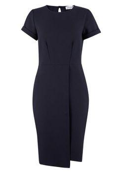 Closet London - Navy Asymmetric Wrap Skirt Dress