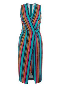 Closet London - Multi Stripe V Neck Sleeveless Dress