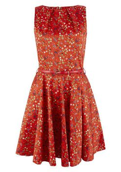 Closet London - Red Floral Skater Dress with Belted Waist