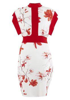 Closet London - Red Floral Print Kimono Dress