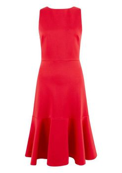Closet London - Red Fitted with Volant Hem Dress