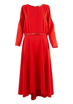 Closet London - Red Cold Shoulder Midi Belted Dress