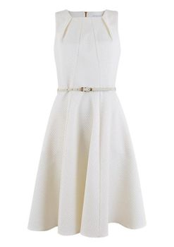 Closet London - White Square Neck Textured Belted Skater Dress