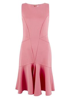 Closet London - Pale Pink Panelled Sleeveless Dress with Pep Hem