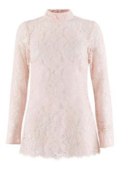 Closet London - Pale Pink Lace Fitted Top with Collar