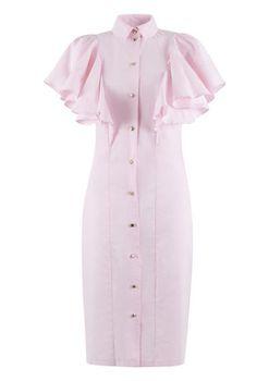 Closet London - Pale Pink Frill Detail V Neck Panel Dress