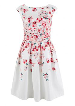 Closet London - Pink Poppy Print Border Tie Back Dress