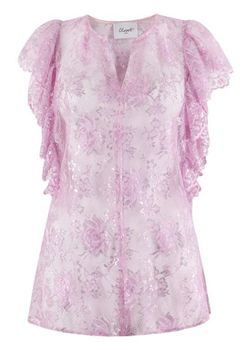 Closet London - Pink Lace Frill Detail VNeck Top