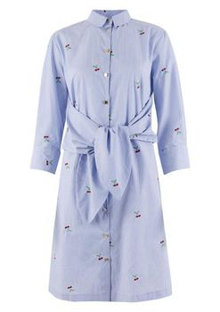 Closet London - Blue Long Sleeve Tie Front Shirt Dress With Cherry Embroidery