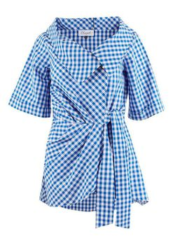 Closet London - Blue and White Checked Wrap Blouse