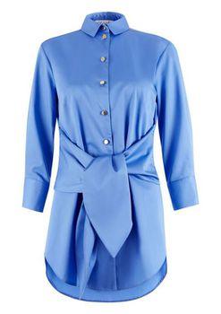 Closet London - Blue Button Tie Front Shirt