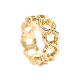 Lily & Rose Yellow Gold Plated Textured Chain Link Ring - TLR007