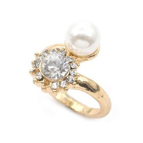 Lily & Rose Yellow Gold Plated Imitation Pearl & Diamante Cross Over Ring - TLR013