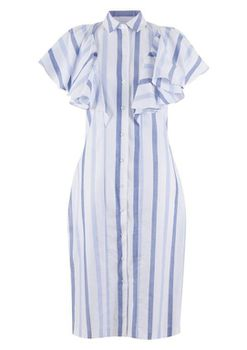 Closet London - Blue Stripe Frill Sleeveless Pencil Dress