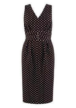 Closet London - Black and Pink Polka Dot Fitted Waist Band Dress