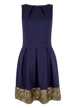 Closet London - Black Multi Sequin Hem Skater Dress