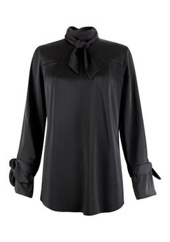 Closet London - Black Tie Bow Neck And Cuff Blouse