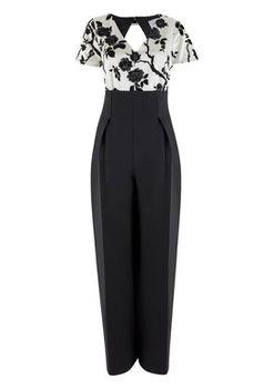 Closet London - Black Contrast Floral Highwaisted Jumpsuit