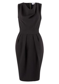 Closet London - Black Cowl Neck Pencil Skirt Dress