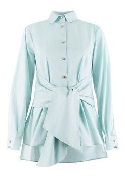 Closet London - Mint Tie Front Long Sleeve Blouse