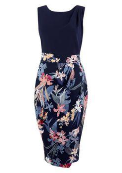 Closet London - Multi 2 in 1 Floral Contrast Draped Midi Dress
