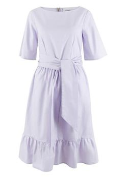 Closet London - Lilac Wide Sleeve Tie Front Frill Hem Dress