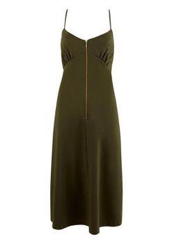Closet London - Khaki Zip Front Strap Sleeve Cami Dress