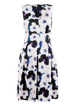 Closet London - Multi Floral Keyhole Back Tie and Pleat Dress