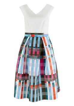 Closet London - Multi Check Print Full Skirt Contrast Dress