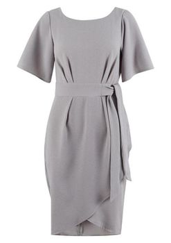 Closet London - Grey Tie Waist Kimono Sleeve Dress
