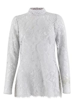 Closet London - Grey Lace Fitted Top with Collar