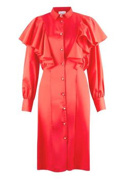 Closet London - Coral Collared Cuff Sleeve Button Up Dress