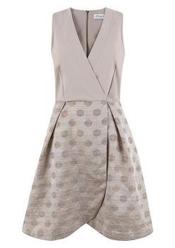 Closet London - Cream 2 in 1 Prom Dress With Polka Dot Jaquard