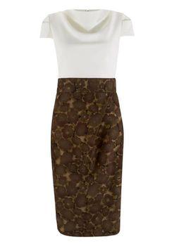Closet London - Khaki Cowl Neck 2 in 1 Print Skirt Dress