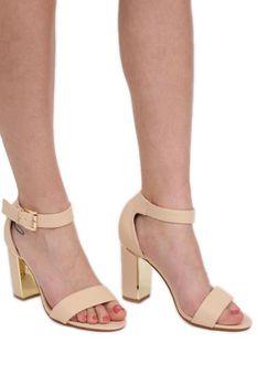 Pilot - Block Heel Strappy Sandals in Nude