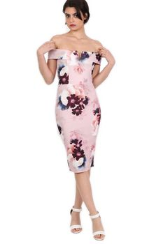 Pilot - Floral Bardot Bodycon Midi Dress in Dusty Pink