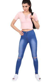 Pilot - High Waisted Slash Knee Skinny Jeans in Denim