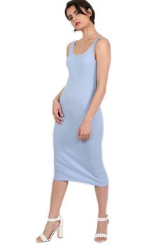 Pilot - Sleeveless Ribbed Midi Dress in Pale Blue
