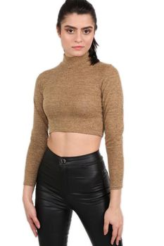 Pilot - Turtle Neck Long Sleeve Plain Knitted Crop Top in Tan Brown