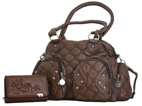 Fino Pu Quilted Leather Bag & Pu Leather Purse Set - Brown(TX-1238+499-093)